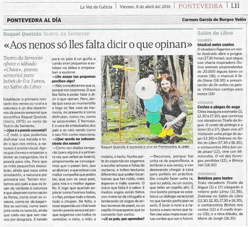 Chíos de Teatro da Semente no Salon do libro infantil e xuvenil de Pontevedra