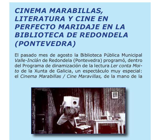 Cinema Marabillas na revista Mi Biblioteca