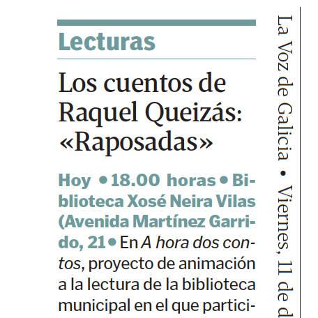 Raposadas na biblioteca Xosé Neira Vilas de Vigo