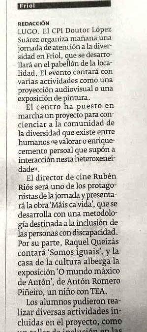Xornada sobre diversidade no CPI Doutor López Suárez de Friol